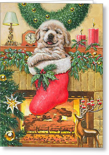 Golden Lab Greeting Cards - Stocking Stuffer Greeting Card by Richard De Wolfe