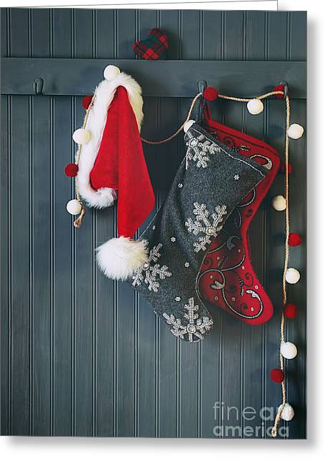 Coat Rack Greeting Cards - Stockings hanging on hooks for the holidays Greeting Card by Sandra Cunningham