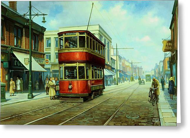 Tram Paintings Greeting Cards - Stockport tram. Greeting Card by Mike  Jeffries