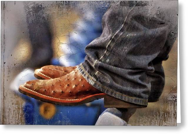 Stockshow Boots III Greeting Card by Joan Carroll