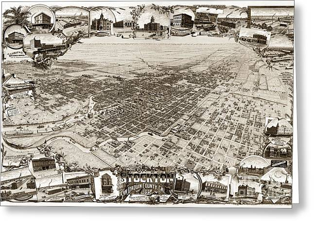 Stockton San Joaquin County California  1895 Greeting Card by California Views Mr Pat Hathaway Archives