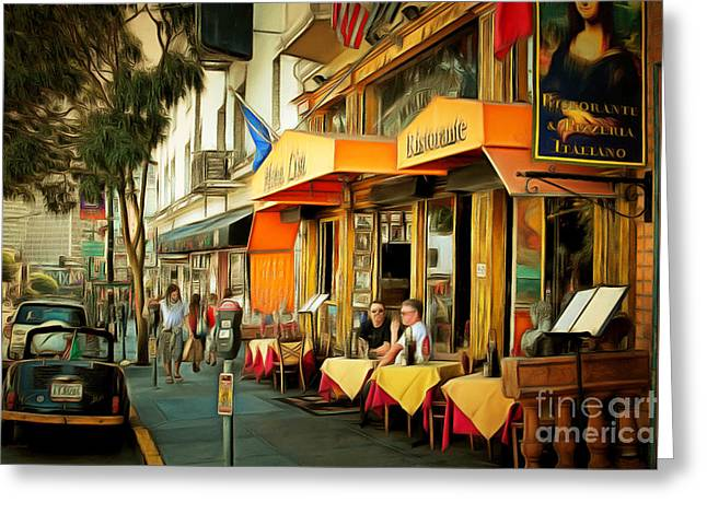 Italian Restaurant Digital Greeting Cards - North Beach Street Scene Outdoor Dining San Francisco 7d7451brun Greeting Card by Wingsdomain Art and Photography