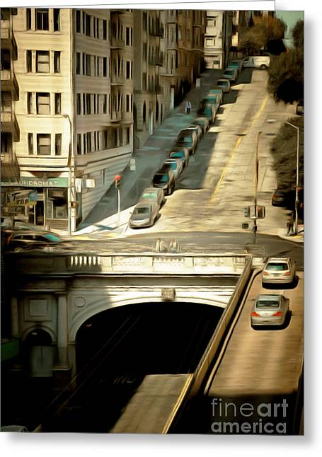 Sutter Street Greeting Cards - Stockton Street Tunnel San Francisco 7d7499brun Greeting Card by Wingsdomain Art and Photography