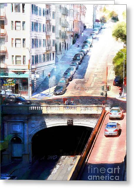 Sutter Street Greeting Cards - Stockton Street Tunnel San Francisco 7d7499wcstyle Greeting Card by Wingsdomain Art and Photography
