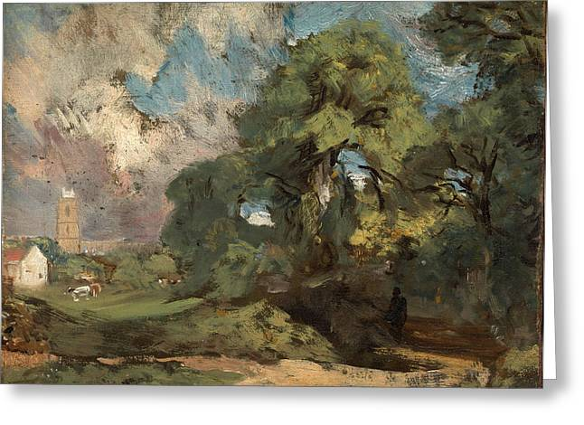 Constable Greeting Cards - Stoke-by-Nayland Greeting Card by John Constable