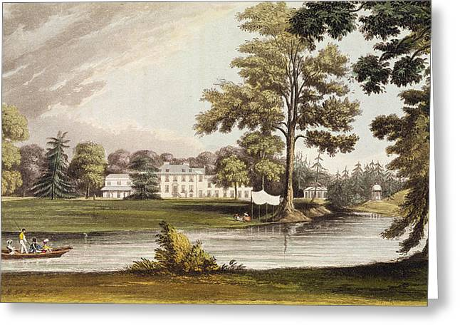 Lake House Drawings Greeting Cards - Stoke Place, From Ackermanns Repository Greeting Card by John Gendall