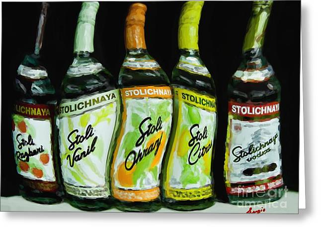 Warp Paintings Greeting Cards - Stoli Nights Greeting Card by Sergio B