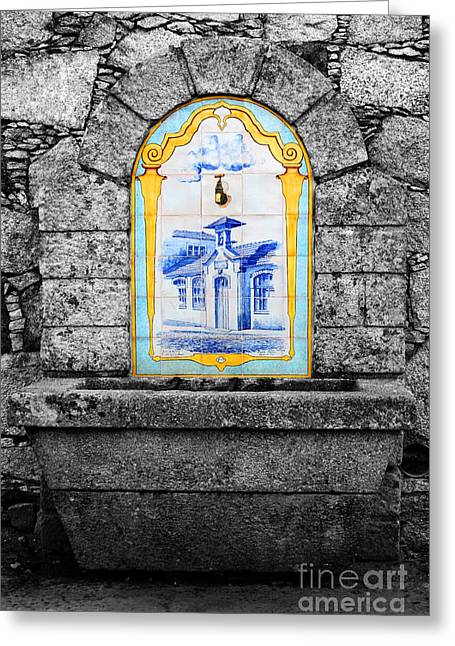 Stone And Ceramic Water Fountain Greeting Card by James Brunker