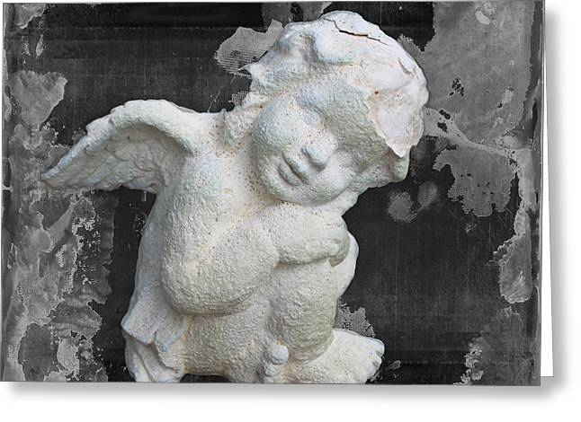 Marble Eye Greeting Cards - Stone Angel Greeting Card by Janice Rae Pariza