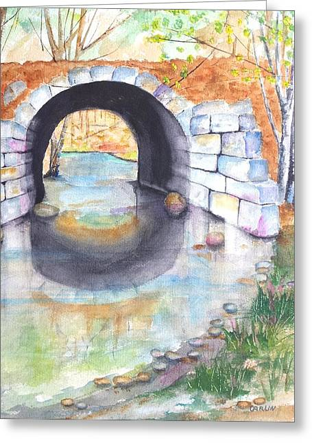 Park Scene Paintings Greeting Cards - Stone Arch Bridge Dunstable Greeting Card by Carlin Blahnik