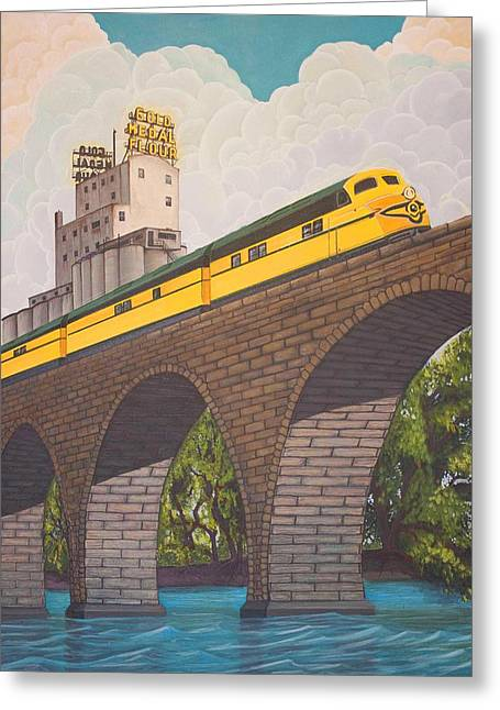 Flour Paintings Greeting Cards - Stone Arch Bridge Greeting Card by Jude Labuszewski