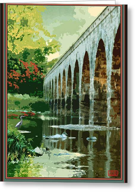 Stones Digital Art Greeting Cards - Stone Arch Bridge Possum Kingdom Greeting Card by Jim Sanders