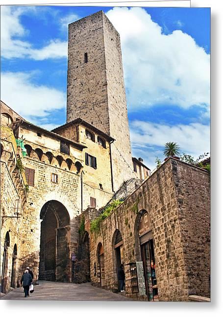 Stone Arch De Becci De Cuganesi Tower Greeting Card by Miva Stock