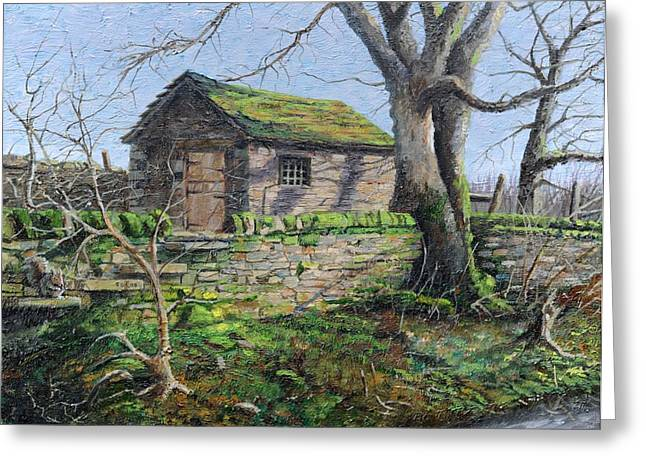 Abode Greeting Cards - Stone Barn, Alport, Derbyshire, 2009 Oil On Canvas Greeting Card by Trevor Neal