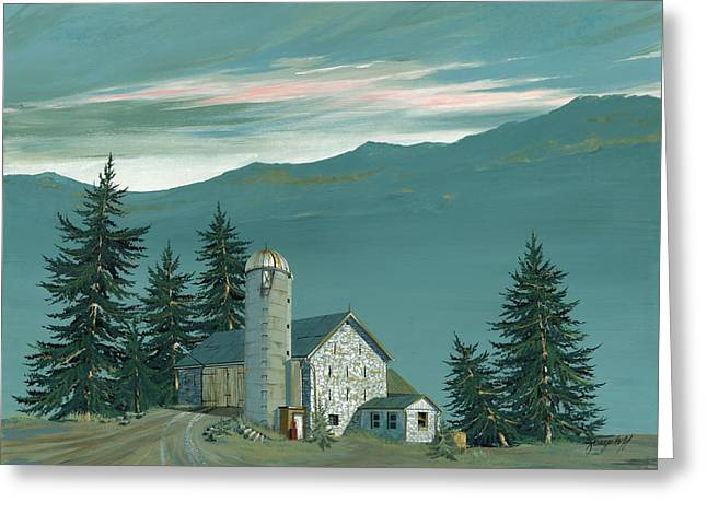 Stone Paintings Greeting Cards - Stone Barn Greeting Card by John Wyckoff