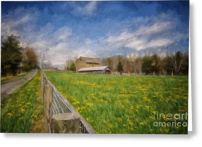 Wooden Fence Greeting Cards - Stone Barn On A Spring Morning Greeting Card by Lois Bryan