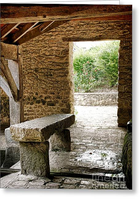 Gathering Photographs Greeting Cards - Stone Bench Greeting Card by Olivier Le Queinec