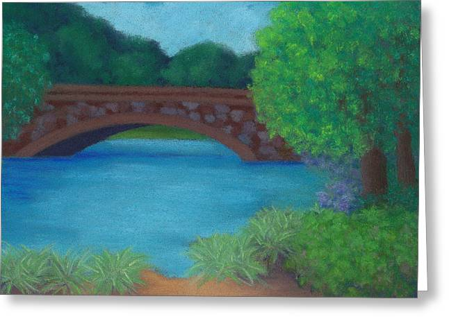 Charles River Pastels Greeting Cards - Stone Bridge Greeting Card by Anne Katzeff
