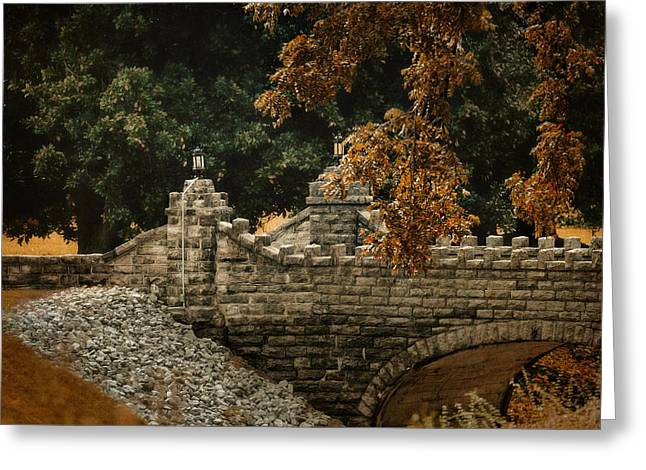 Stone Bridge In Autumn Greeting Card by Jai Johnson