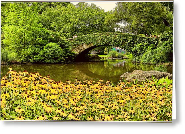 Fall Scenes Greeting Cards - stone bridge in Central Park Greeting Card by Geraldine Scull