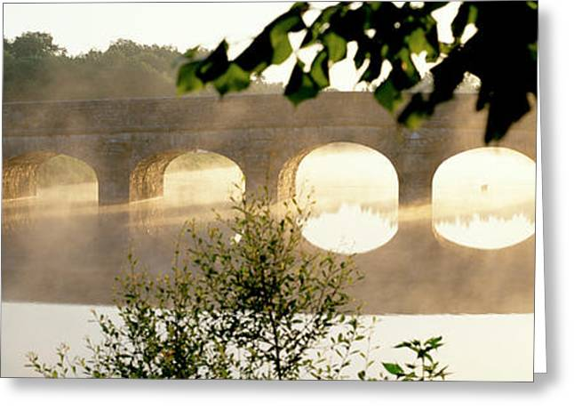 Eerie Greeting Cards - Stone Bridge In Fog, Loire Valley Greeting Card by Panoramic Images