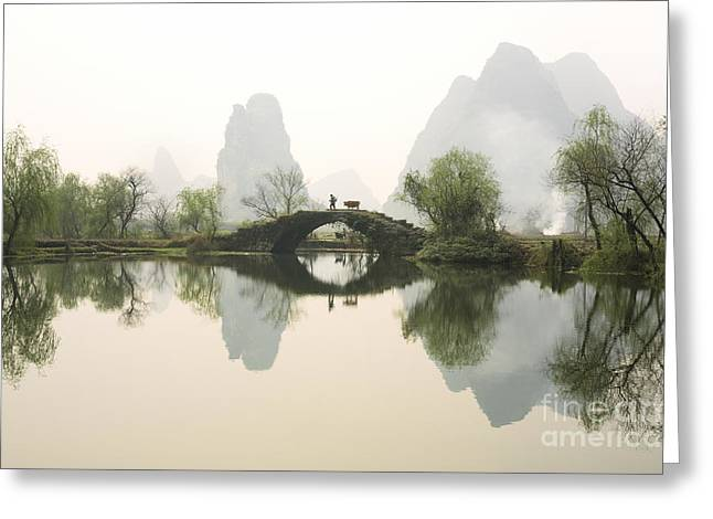 Stone Bridge In Guangxi Province China Greeting Card by King Wu