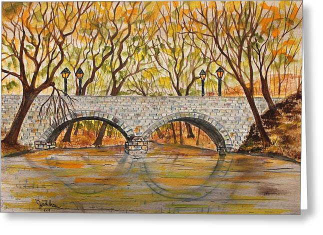 Reflections In River Greeting Cards - Stone Bridge Greeting Card by Jack G  Brauer
