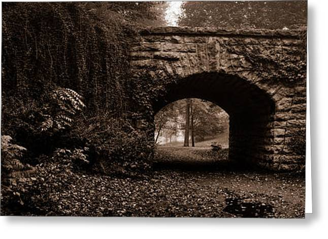 Mist Photographs Greeting Cards - Stone Bridge over a leaf covered path Greeting Card by Chris Bordeleau