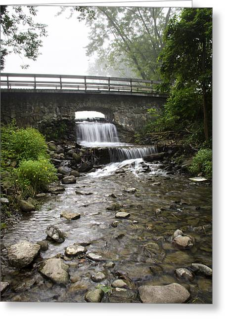 Nature Scene Greeting Cards - Stone Bridge Over Small Waterfall Greeting Card by Christina Rollo