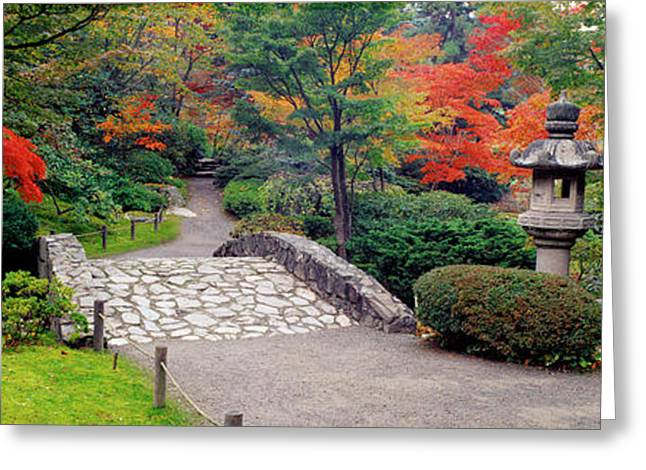 Meditate Greeting Cards - Stone Bridge, The Japanese Garden Greeting Card by Panoramic Images