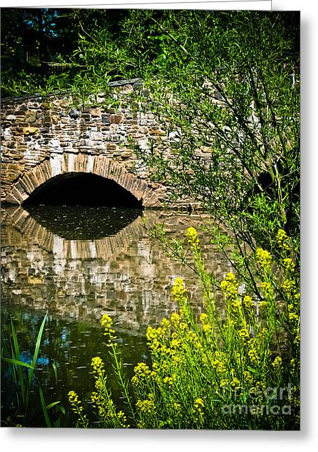 Original Art Photographs Greeting Cards - Stone Bridge with Yellow Flowers Greeting Card by Colleen Kammerer