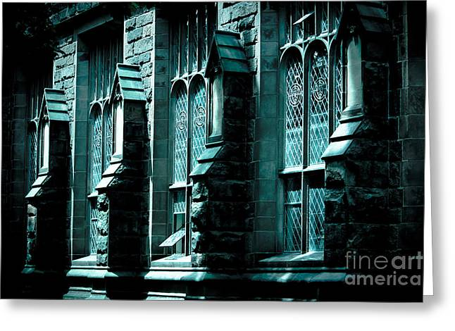 Original Photographs Greeting Cards - Stone Building in Blue Greeting Card by Colleen Kammerer