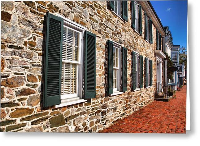 Old Frame Houses Greeting Cards - Stone Building In Leesburg Greeting Card by Steven Ainsworth