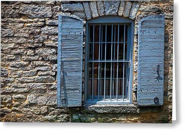 Grate Greeting Cards - Stone building window Greeting Card by Alexey Stiop