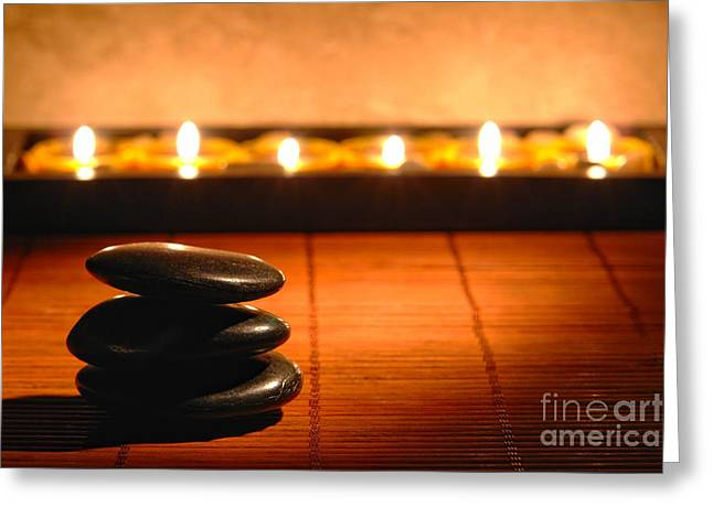 Burning Greeting Cards - Stone Cairn and Candles for Quiet Meditation Greeting Card by Olivier Le Queinec