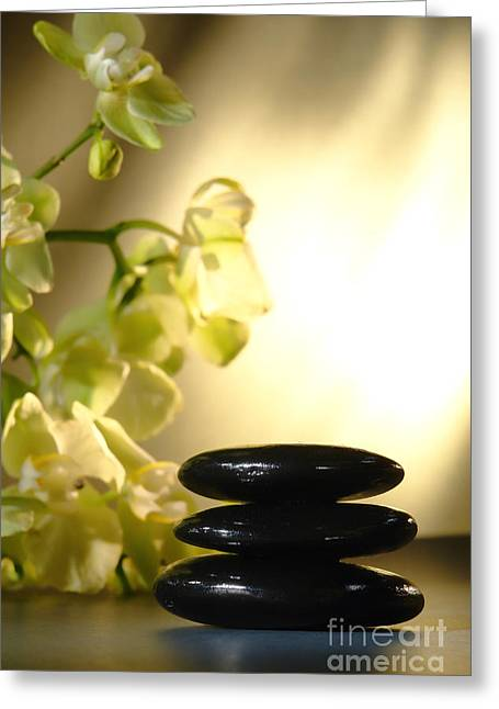Mood Greeting Cards - Stone Cairn and Orchids Greeting Card by Olivier Le Queinec