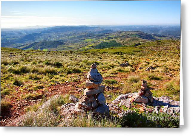 Trekking Greeting Cards - Stone Cairns Greeting Card by Carlos Caetano