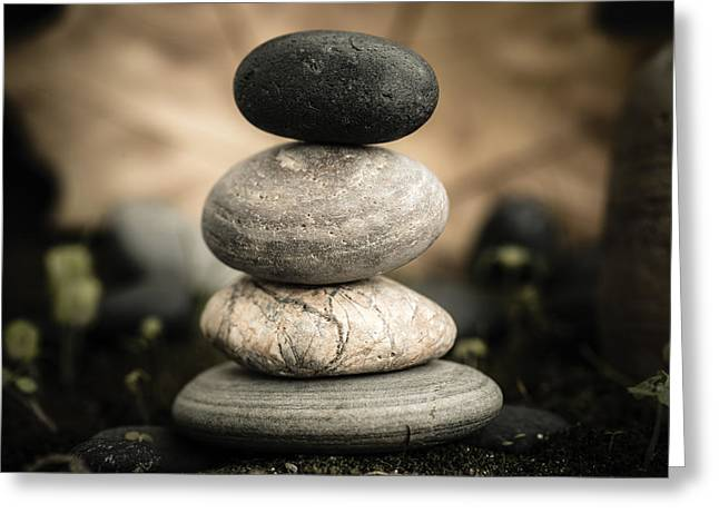 Mystic Setting Greeting Cards - Stone Cairns I Greeting Card by Marco Oliveira