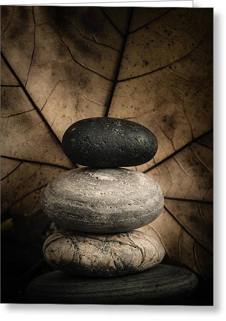 Mystic Setting Greeting Cards - Stone Cairns II Greeting Card by Marco Oliveira