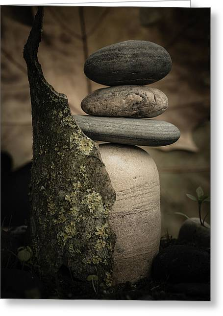 Mystic Setting Greeting Cards - Stone Cairns III Greeting Card by Marco Oliveira