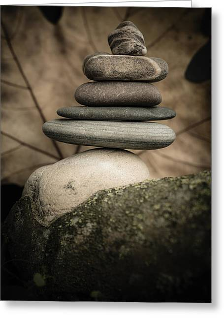 Stone Cairns Iv Greeting Card by Marco Oliveira