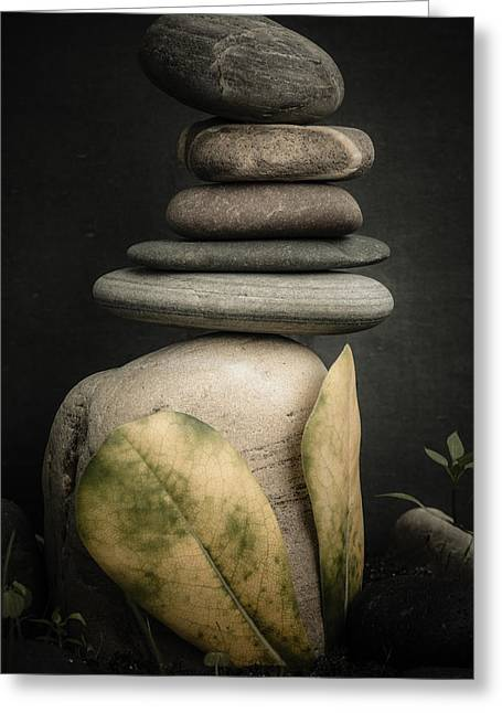 Stone Cairns V Greeting Card by Marco Oliveira
