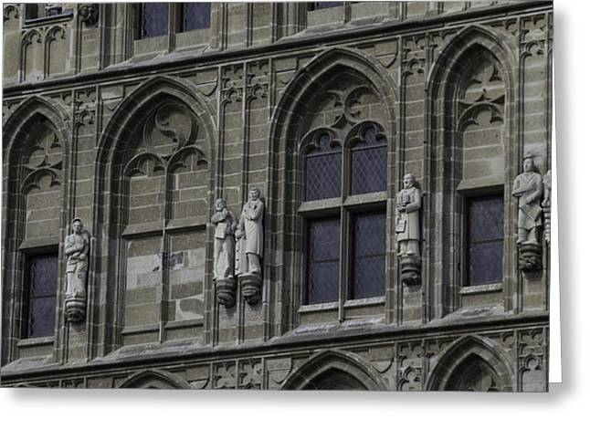City Hall Greeting Cards - Stone Carvings on the Rathaus Tower Cologne Greeting Card by Teresa Mucha