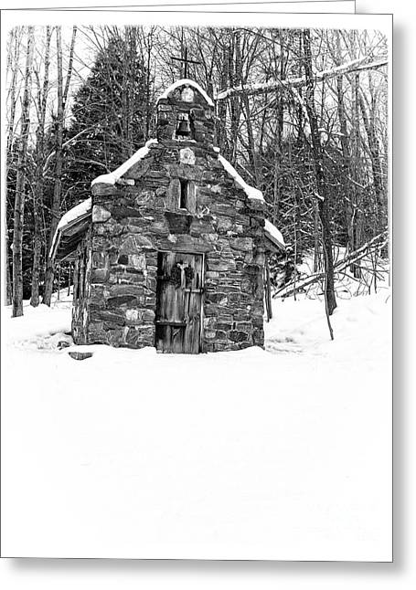 Stowe Greeting Cards - Stone Chapel in the Woods Black and White Greeting Card by Edward Fielding