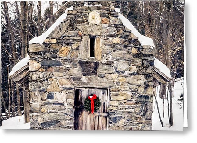 Stone Chapel in the Woods Trapp Family Lodge Stowe Vermont Greeting Card by Edward Fielding