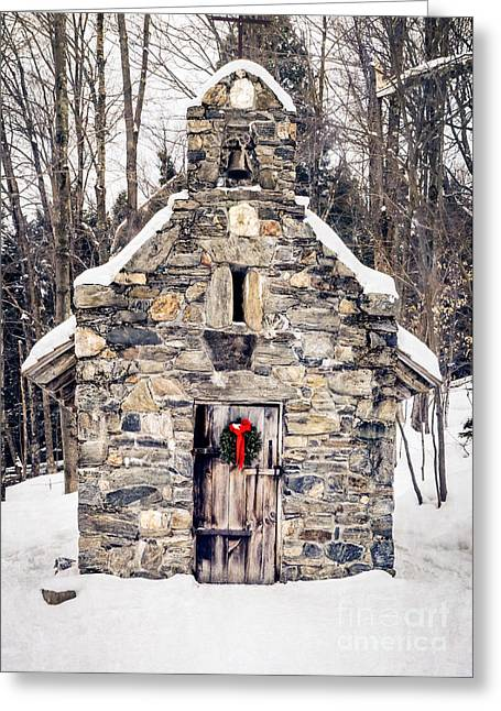 Skiing Christmas Cards Greeting Cards - Stone Chapel in the Woods Trapp Family Lodge Stowe Vermont Greeting Card by Edward Fielding