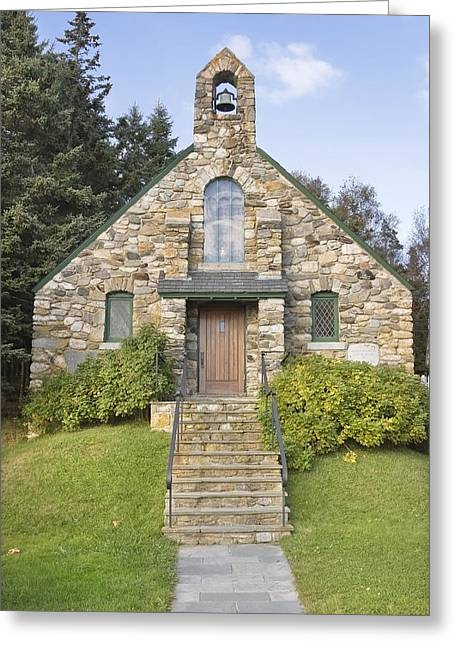 Country Church Greeting Cards - Stone Church At Ocean Point Maine Greeting Card by Keith Webber Jr