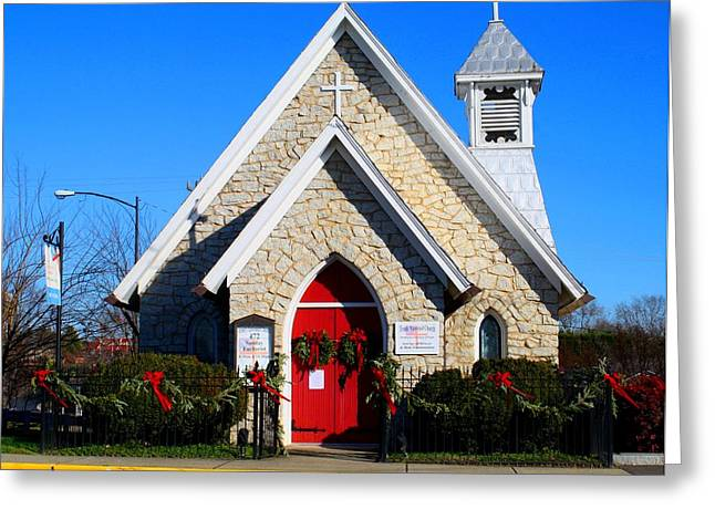 Decorated For Christmas Greeting Cards - Stone Church Greeting Card by Kathryn Meyer
