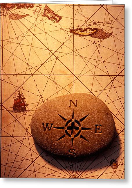 Line Graph Greeting Cards - Stone compass on old map Greeting Card by Garry Gay