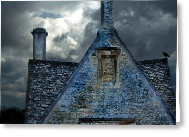 Stone Cottage in a Storm Greeting Card by Jill Battaglia